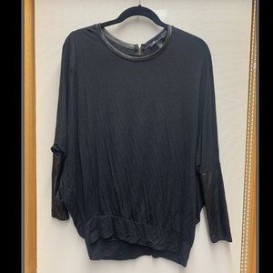 Kenneth Cole Blouse with Leather Trim and Sleeves
